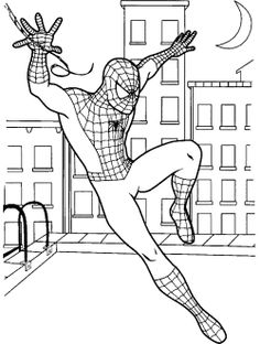 spiderman nearly fall coloring page