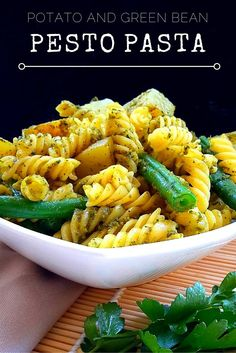 A super simple pasta dish which is great hot or cold. It's made with a vegan-friendly mixed-herb pesto.