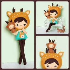 PDF. Deer girl with puppet .Plush Doll Pattern, Softie Pattern, Soft felt Toy Pattern.. $7.00, via Etsy.