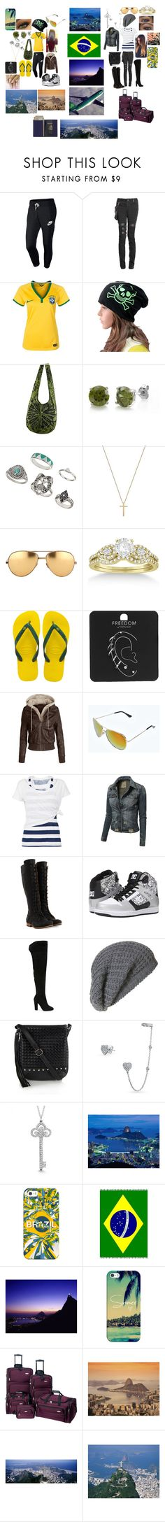 """""""Traveling to Brazil"""" by vickytavares ❤ liked on Polyvore featuring NIKE, BERRICLE, Topshop, Gucci, Linda Farrow, Allurez, Havaianas, Boohoo, White Label and John Fluevog"""