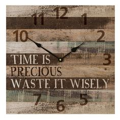 This is gorgeous too, I want! Perfect for my office and good reminder too - very shabby chic! Time Is Precious Waste It Wisely  Wall Clock | Home Furniture | Home Decor | Clocks  - Cracker Barrel Old Country Store