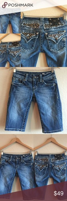 MISS ME  Bermuda Jean Shorts Studded Sz 25 Great pair of Miss Me shorts!  Edgy Studded detailing!  Original price is an estimation. BUNDLE TO SAVE!   (A1X201216PC) Miss Me Shorts Bermudas