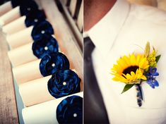 sunflower and blue boutonniere...to go with the sunflower bouquet.