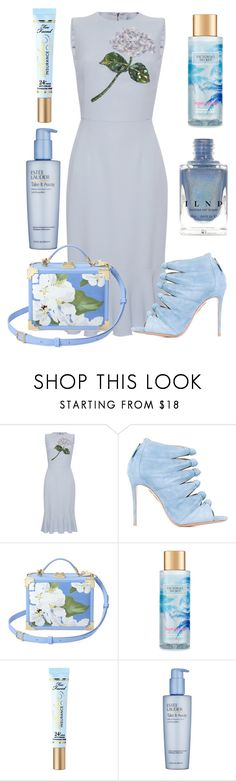 """Blue dress"" by subvilli on Polyvore featuring Dolce&Gabbana, Aquazzura, Aspinal of London, Victoria's Secret, Too Faced Cosmetics, Estée Lauder, Blue, dress, bluedress and polyvoreeditorial"
