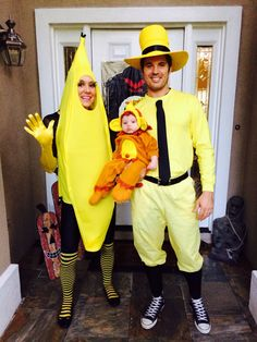 """Family of three Halloween costume idea. Curious George inspiration.Love this! Super cute and what a cute """"monkey""""!"""