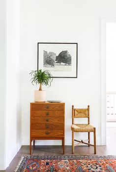 Hallway vignette with black and white photo, indoor plant, and single chair