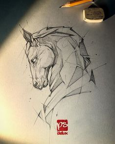 New Drawing Bleistift Tattoo 67 Ideas Horse Drawings, Art Drawings Sketches, Animal Drawings, Sketch Art, Sketch Design, Tattoo Sketches, Horse Sketch, Desenho Tattoo, Animal Sketches