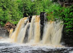 Manabezho Falls at Presque Isle River, Porcupine Mountains State Park in Michigan's Upper Peninsula