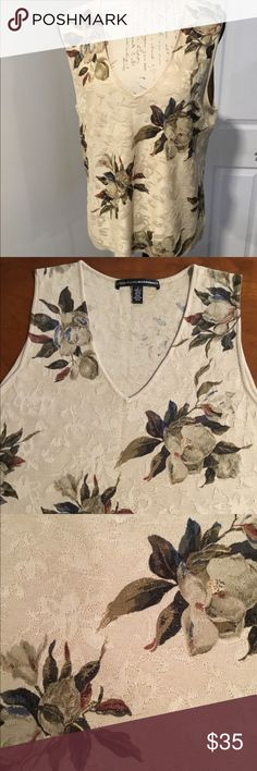 "Ellen Tracy Silk Floral Top Linda Allard/Ellen Tracy Silk Floral sleeveless Top.  100% Silk  dry clean only. 20"" across chest pit to hem 15"". Not certain of size, check measurements listed guessing size L Linda Allard/Ellen Tracy Tops"