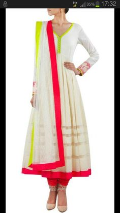 White cotton anarkali wid neon green and pink detailing