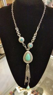Boho Silver Turquoise Drop Necklace