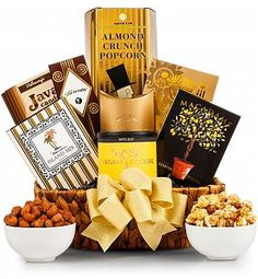 Eye-catching black and gold packages deliver a wealth of tasty treats, elegantly presented in a beautiful water hyacinth tray.  A Gourmet Gift baskets for best wishes, thank you, congratulations, happy birthday, or any occasion