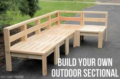 How to Build an Outdoor Sectional. {Knock It Off} - East Coast Creative Blog #diywoodproject #diyfurniture Sectional Patio Furniture, Deck Furniture, Outdoor Sectional, Outdoor Furniture Sets, Outdoor Decor, Furniture Ideas, Building Furniture, Outdoor Seating, Patio Decorating Ideas On A Budget