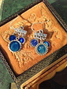 Blue Enamel Religious Medal Earrings by OldNouveau on Etsy