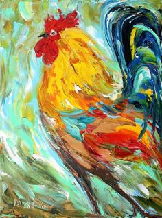 Original oil painting Proud Rooster Palette knife by Karensfineart