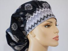 Bouffant Surgical Scrub Hat  Grey Medallions and by SilverCaps