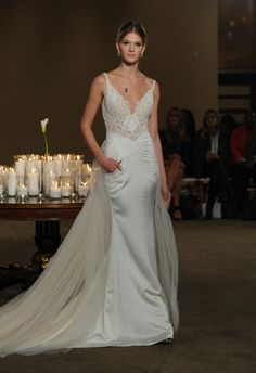 Gala by Galia Lahav mermaid wedding dress with sheer lace bodice and tulle over skirt from Fall 2016 | https://www.theknot.com/content/gala-by-galia-wedding-dresses-bridal-fashion-week-fall-2016