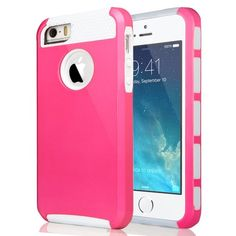 iPhone 5/5S Shockproof Case with Screen Protector – ULAK Pandamimi Series (Magenta/White)
