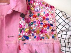 Front detail of Barbie jacket ...glue fake stick on earrings to create this effect?