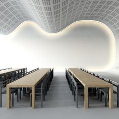 Faux plafond wave - Faux plafonds - Davis&Co Cove Lighting, Interior Lighting, Lighting Design, Wall Lighting, Office Ceiling, Floor Ceiling, Gypsum Ceiling, Commercial Design, Commercial Interiors