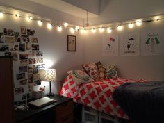 String Lights For Bedroom - Home Interior Design Ideas String Lights In The Bedroom, Lantern String Lights, Indoor String Lights, Dream Bedroom, Bedroom Wall, Bedroom Decor, Bedroom Ideas, Outdoor Table Settings, Bedroom Pictures