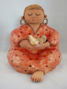 Girl with bird - by Probst Pottery
