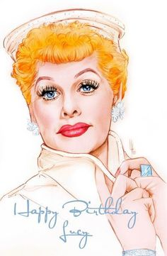 By artist Henry LaMarr Celebrity Caricatures, Celebrity Portraits, Lucille Ball, Cartoon Faces, Cartoon Art, Lucy And Ricky, Desi Arnaz, Elvis Presley Photos, I Love Lucy
