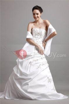 Matte Brocade Embroidering Strapless Cibeles's Wedding Dress : Tidebuy.com