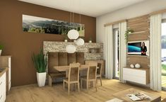 Esszimmer mit Steinriemchen Studio, Bed, Furniture, Home Decor, Dining Rooms, Timber Wood, Decoration Home, Stream Bed, Room Decor
