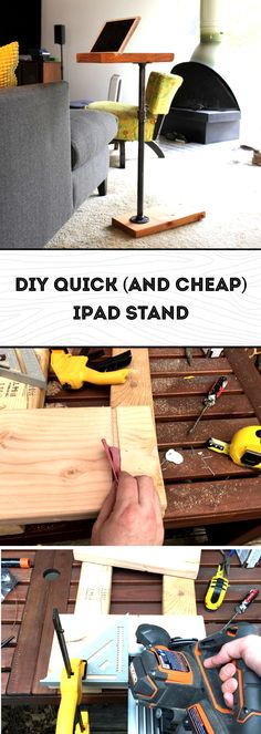 How to build a simple and cheap iPad stand with a single pipe and a piece of wood.