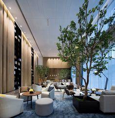 Fuzhou Finance Special Zone Sales Center by Li Yizhong on Behance Luxury Hotel Design, Hotel Room Design, Lobby Design, Luxury Hotels, Hotel Lounge, Lobby Lounge, Hotel Lobby, Lounge Design, Lobby Interior