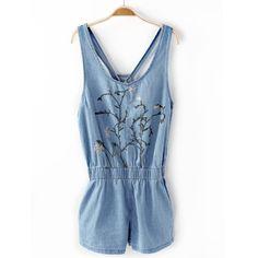 1f891f5e7d9e34 Fresh New Summer Arts Denim Straps Embroidered Vines Jumpsuits[162] – Obuzu  Jeans Mode