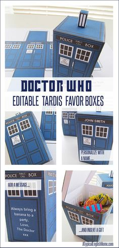 A Typical English Home: Doctor Who Printable TARDIS And Editable Party Favors!