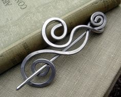Aluminum Shawl Pin ,Scarf Pin ,Sweater Brooch - Dancing Swirls and Waves - Light Weight - Hair Pin. $20.00, via Etsy.