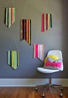 Pretty yarn wall hangings