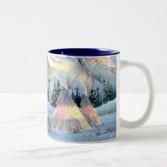 WINTER TIPIS & APPALOOSA by SHARON SHARPE Two-Tone Coffee Mug - decor gifts diy home & living cyo giftidea