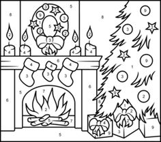 Christmas Fireplace - Online Color by Number Page