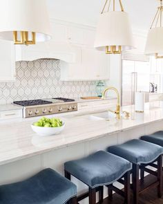 Stunning kitchen designed by Barbour Spangle Design featuring Dalston Hanging Shades by J. Randall Powers #circalighting