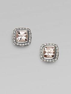 David Yurman Diamond, Morganite & Sterling Silver Earrings
