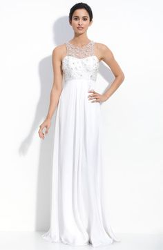 Theia Beaded Illusion & Silk Satin Faced Georgette Gown