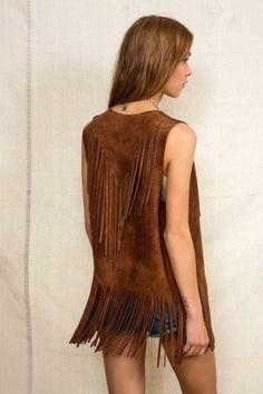 American Vintage Suede Fringe Vest