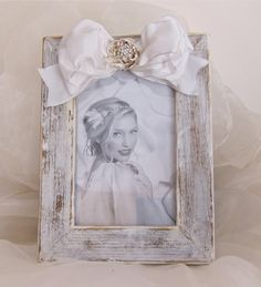 Wedding White Shabby Picture Frame Bow & Silver by HannahBowBanna