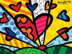 Romero Britto Print - Wouldn't this be a great Valentine's Day art project for the classroom?
