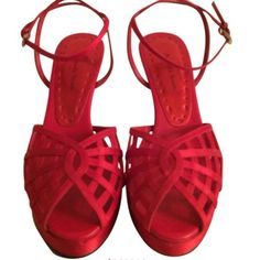 """Amanda Smith Red Heels Amanda Smith Open Toe Ankle Strap Heels. Color Red. Size 6M. Heel Height 4"""". Excellent Condition. Amanda Smith Shoes"""