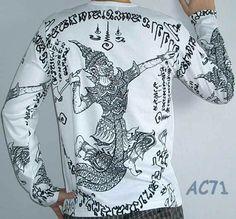 1fcd79d6a Thai RAMASOON THUNDER GOD Long Sleeve Sak Yant Tattoo T Shirt M Black on  White #