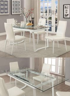 White Square Kitchen Table and Chair Lovely 41 Extendable Dining Tables to Maximize Your Space Extendable Glass Dining Table, Grey Round Dining Table, Coffee Table To Dining Table, Expandable Dining Table, Glass Top Dining Table, Dining Table Design, Small Dining, Glass Dining Room Sets, White Dining Room Sets