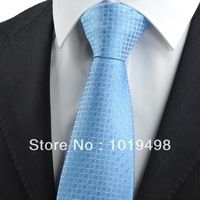 free shipping 2pcs men tie brand new Blue Checked Pattern JACQUARD WOVEN Microfiber Men's Tie Necktie,Width 8.5cm