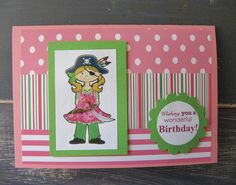Handmade Girls Pirate Party Birthday Card
