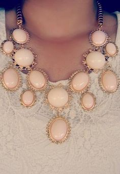 Light Blush Pink Nude Statement Necklace Vintage Style Casual Outift for • teens • movies • girls • women •. summer • fall • spring • winter • outfit ideas • dates • school • parties mint cute sexy