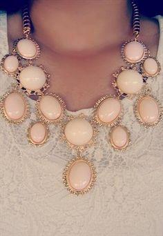 Light Blush Pink Nude Statement Necklace Vintage Style